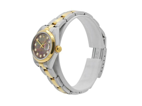 Ladies Rolex Datejust 26, 18k Yellow Gold, Steel, Mother-Of-Pearl Diamond Dial, 79163 PRE-OWNED - Global Timez