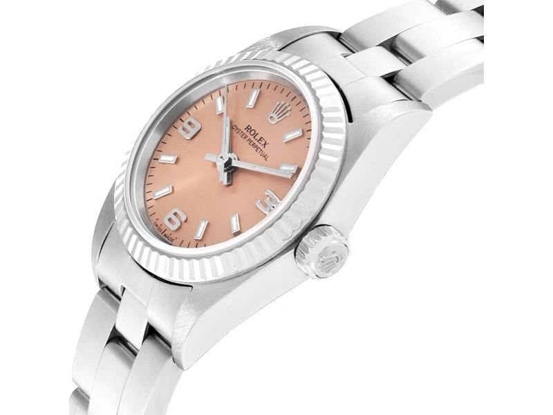 Ladies Rolex Oyster Perpetual Salmon Dial Steel White Gold Ladies Watch 76094 PRE-OWNED - Global Timez
