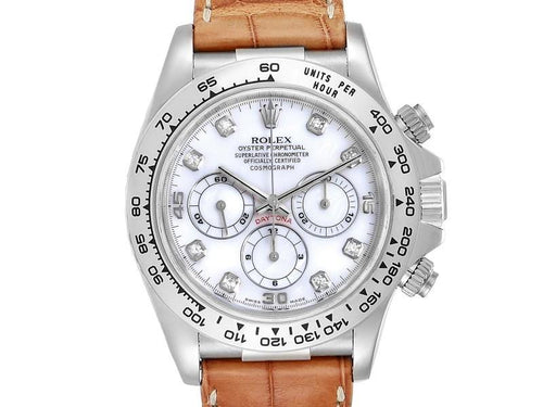 Men's Rolex Daytona White Gold Mother Of Pearl Diamond Mens Watch 16519 PRE-OWNED - Global Timez