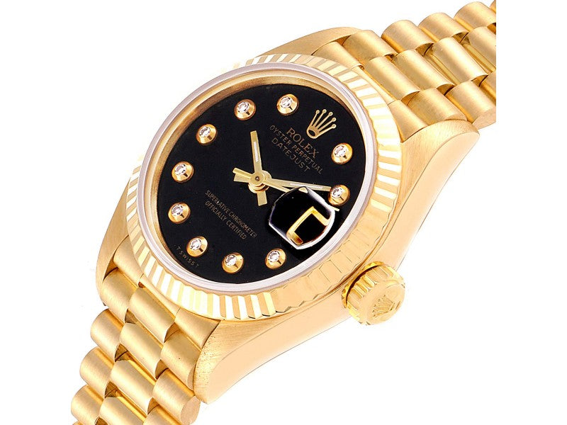 Ladies Rolex President Datejust Yellow Gold Onyx Diamond Dial Ladies Watch 69178 PRE-OWNED
