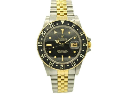 Men's  Rolex GMT Master Date W/ Black Dial 16753 PRE-OWNED - Global Timez