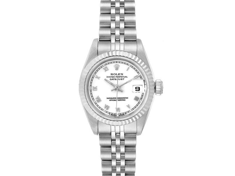 Ladies Rolex Datejust 26 Steel White Gold Roman Dial Ladies Watch 69174 PRE-OWNED