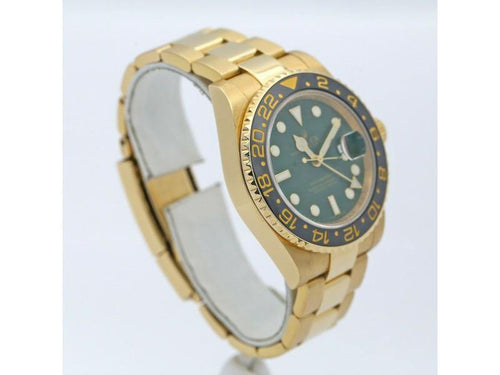 Men's Rolex GMT-Master II 18k Yellow Gold W/ Green Dial & Black Ceramic Bezel 116718LN PRE-OWNED - Global Timez
