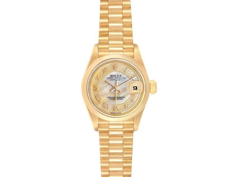 Ladies Rolex President Datejust Yellow Gold Decorated MOP Dial Ladies Watch 79168 PRE-OWNED - Global Timez