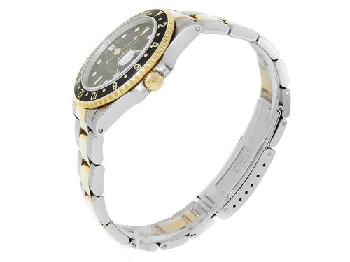 Men's Rolex GMT-Master II 18k Yellow Gold Stainless Steel Oyster Black Watch 16713 PRE-OWNED - Global Timez