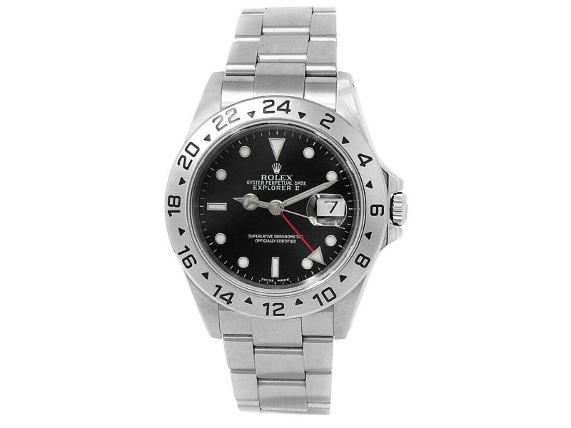 Men's Rolex Explorer II Stainless Steel Oyster Automatic Black  Watch 16570 PRE-OWNED