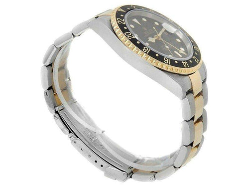 Men's Rolex GMT-Master II 18k Yellow Gold Steel Oyster Auto Black  Watch 16713 PRE-OWNED - Global Timez
