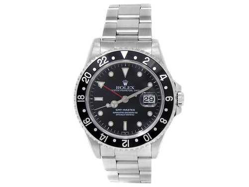 Men's Rolex GMT-Master Stainless Steel Oyster Automatic Black  Watch 16700 PRE-OWNED - Global Timez