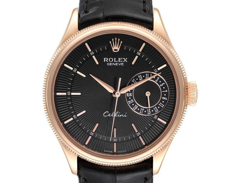 Men's Rolex Cellini Date Everose Gold Black Dial Automatic Mens Watch 50515 PRE-OWNED