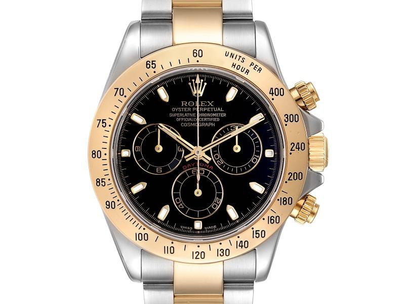 Men's Rolex Daytona Steel Yellow Gold Black Dial Chronograph Mens Watch 116523 PRE-OWNED