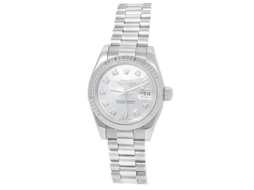Ladies Rolex Datejust 18k White Gold President Diamonds Mother Of Pearl Watch 179179 PRE-OWNED - Global Timez