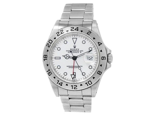 Men's Rolex Explorer II Stainless Steel Oyster Automatic White  Watch 16570 PRE-OWNED - Global Timez