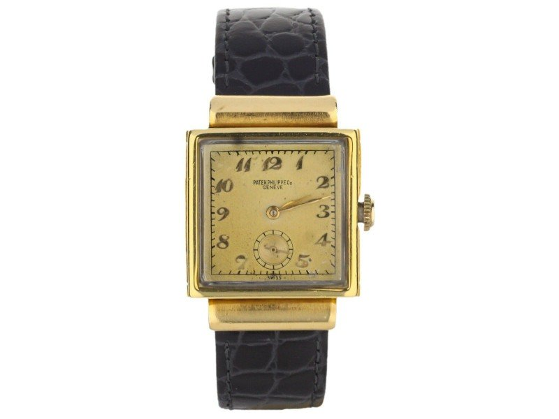Men's Patek Philippe Vintage 18k Rose Gold Square 2473 18K Yellow Gold PRE-OWNED