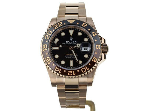 Men's Rolex GMT Master II Rootbeer Rose Gold Black Dial 40mm 126715 PRE-OWNED - Global Timez