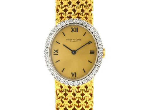 Ladies Patek Philippe 4178 18k Yellow Gold Diamond Ellipse Manual Wind Vintage Watch PRE-OWNED - Global Timez