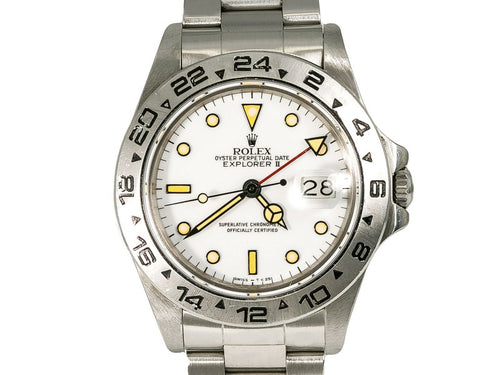 Men's Rolex Explorer II 16550 Vintage Mens Automatic Watch White Dial Patina Index 40m PRE-OWNED
