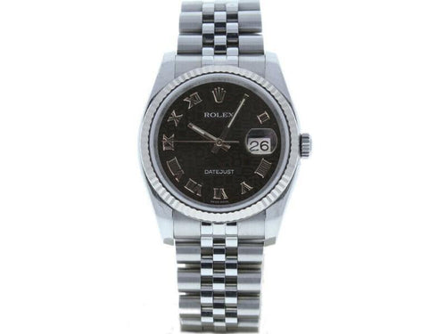 Men's Rolex Datejust 116234 Unisex Black Jubilee Roman White Gold 36mm PRE-OWNED - Global Timez
