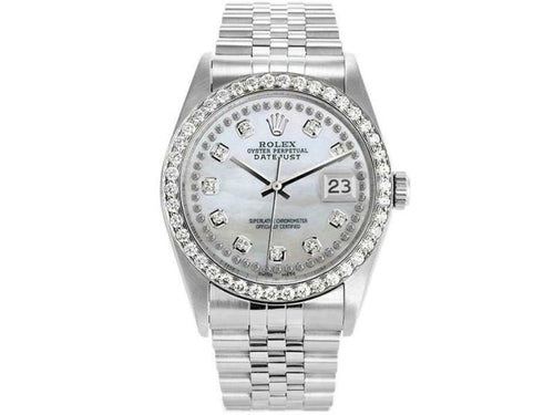 Men's Rolex Datejust 16234 Unisex White MOP Diamond White Gold 36mm PRE-OWNED - Global Timez