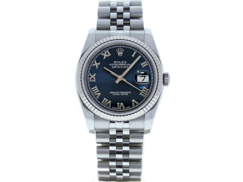 Men's Rolex Datejust 36mm 116234 Unisex Blue Roman White Gold 36mm PRE-OWNED - Global Timez