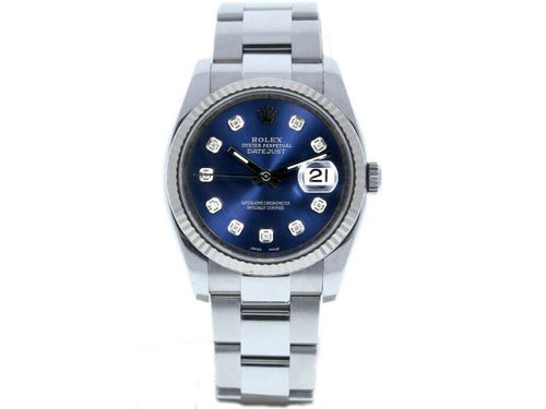 Men's Rolex Datejust 36mm 116234 Unisex Blue Diamond White Gold 36mm PRE-OWNED - Global Timez