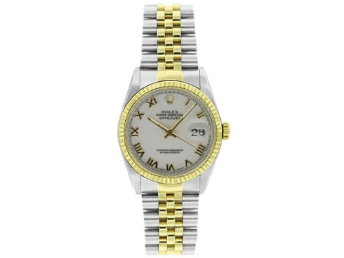 Men's Rolex Datejust 36mm 16233 Unisex White Roman Yellow Gold 36mm PRE-OWNED - Global Timez