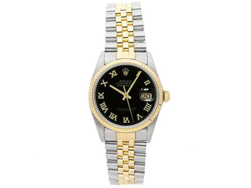 Men's Rolex Datejust 36mm 16013 Unisex Black Roman Yellow Gold 36mm PRE-OWNED - Global Timez