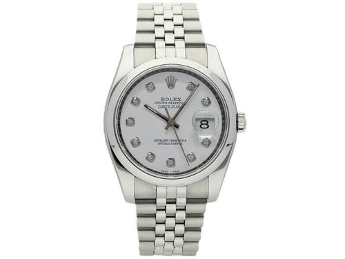 Men's Rolex Datejust 36mm 116200 Unisex White Diamond Steel 36mm PRE-OWNED - Global Timez