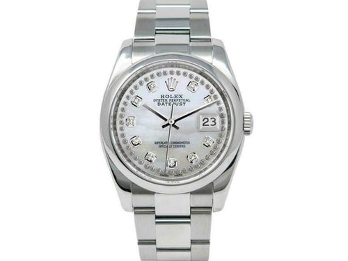 Men's Rolex Datejust 36mm 116200 Unisex White MOPDiamond Stainless Steel 36mm 1YearWty PRE-OWNED - Global Timez
