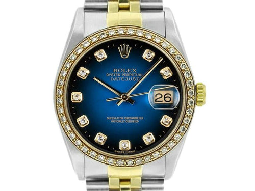 Men's Rolex Datejust 36mm 16233 Unisex Blue Diamond Yellow Gold 36mm PRE-OWNED - Global Timez