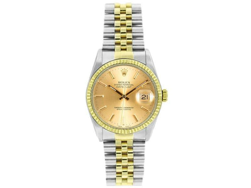 Men's Rolex Datejust 16233 Unisex Champagne Index Yellow Gold 36mm PRE-OWNED - Global Timez