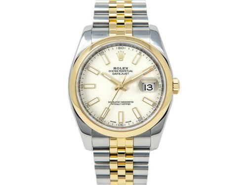 Men's Rolex Datejust 36mm 116203 Unisex White Index Yellow Gold 36mm PRE-OWNED - Global Timez