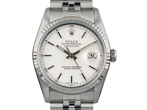 Men's Rolex Datejust 36mm 16014 Unisex White Index White Gold 36mm PRE-OWNED - Global Timez