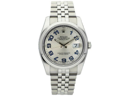 Men's Rolex Datejust 116200 Unisex Silver Concentric Arabic Steel 36mm PRE-OWNED - Global Timez