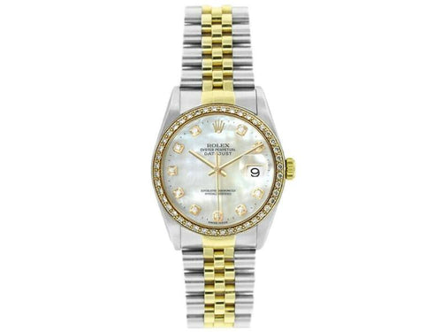 Men's Rolex Datejust 16233 Unisex White MOP Diamond Yellow Gold 36mm PRE-OWNED - Global Timez