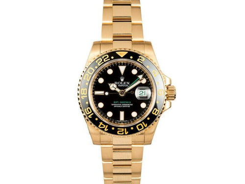 Men's Rolex GMT Master II 116718  Yellow Gold Automatic Black PRE-OWNED - Global Timez