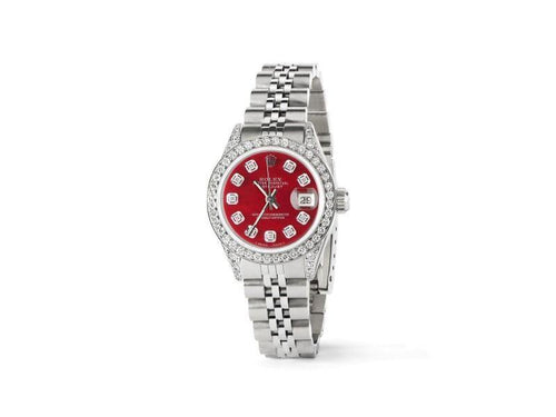 Ladies Rolex Datejust 26mm Steel Jubilee Diamond Watch W/Candy Red MOP Dial PRE-OWNED - Global Timez