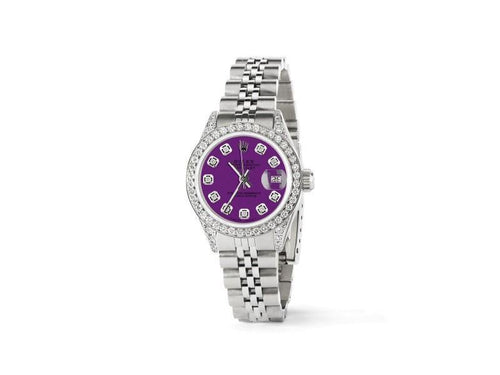 Ladies Rolex Datejust 26mm Steel Jubilee Diamond Watch W/Dark Purple Dial PRE-OWNED - Global Timez