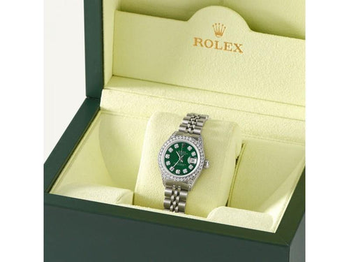 Ladies Rolex Datejust 26mm Steel Jubilee Diamond Watch W/Forest Green MOP Dial PRE-OWNED - Global Timez