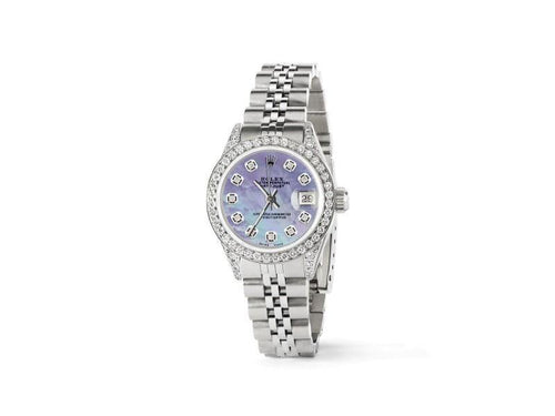 Ladies Rolex Datejust 26mm Steel Jubilee Diamond Watch W/Purple MOP Dial PRE-OWNED - Global Timez