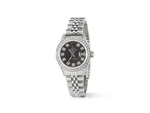 Ladies Rolex Datejust 26mm Steel Jubilee Diamond Watch W/Rhodium Grey Dial PRE-OWNED - Global Timez