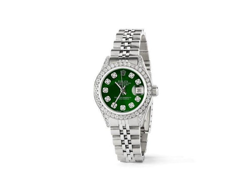 Ladies Rolex Datejust 26mm Steel Jubilee Diamond Watch W/Royal Green MOP Dial PRE-OWNED - Global Timez