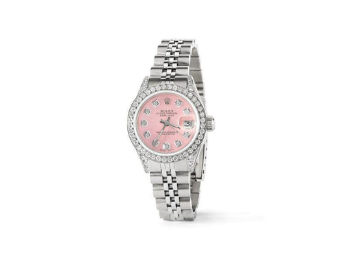 Ladies Rolex Datejust 26mm Steel Jubilee Diamond Watch W/Vibrant Pink Dial PRE-OWNED - Global Timez