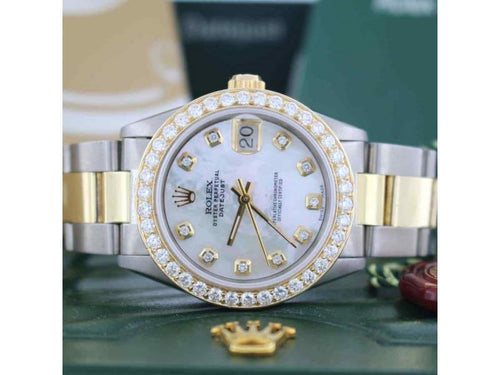 Ladies Rolex Datejust 2-Tone Gold/Steel 31mm Oyster Watch W/MOP Diamond Dial & Bezel PRE-OWNED - Global Timez
