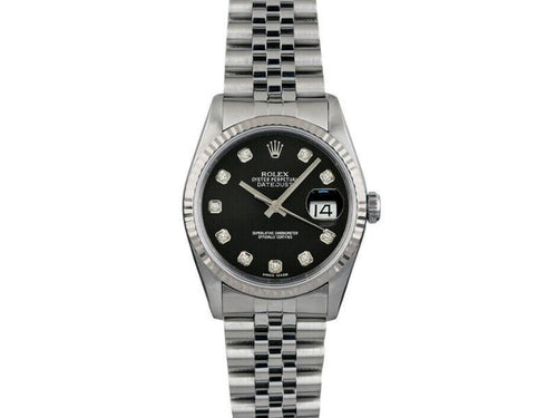 Men's Rolex Datejust 36mm 16014 Unisex Black Diamond White Gold 36mm PRE-OWNED - Global Timez