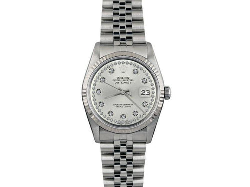 Men's Rolex Datejust 36mm 16014 Unisex Silver Diamond White Gold 36mm PRE-OWNED - Global Timez