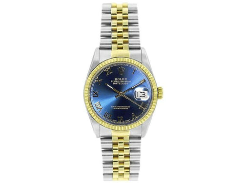 Men's Rolex Datejust 36mm 16233 Unisex Blue Roman Yellow Gold 36mm PRE-OWNED - Global Timez