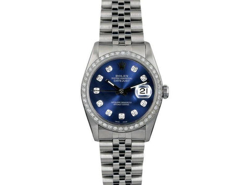 Men's Rolex Datejust 36mm 16014 Unisex Blue Diamond White Gold 36mm PRE-OWNED - Global Timez