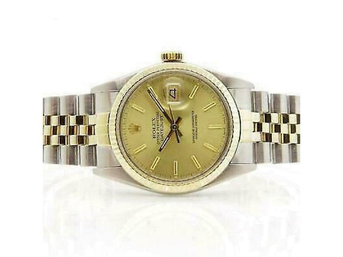 Men's Rolex Datejust 36mm 16013 Unisex Champagne Yellow Gold 36mm PRE-OWNED - Global Timez
