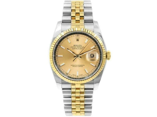 Men's Rolex Datejust 116233 Unisex Champagne Index Yellow Gold 36mm PRE-OWNED - Global Timez