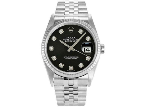 Men's Rolex Datejust 36mm 16234 Unisex Black Diamond White Gold 36mm PRE-OWNED - Global Timez